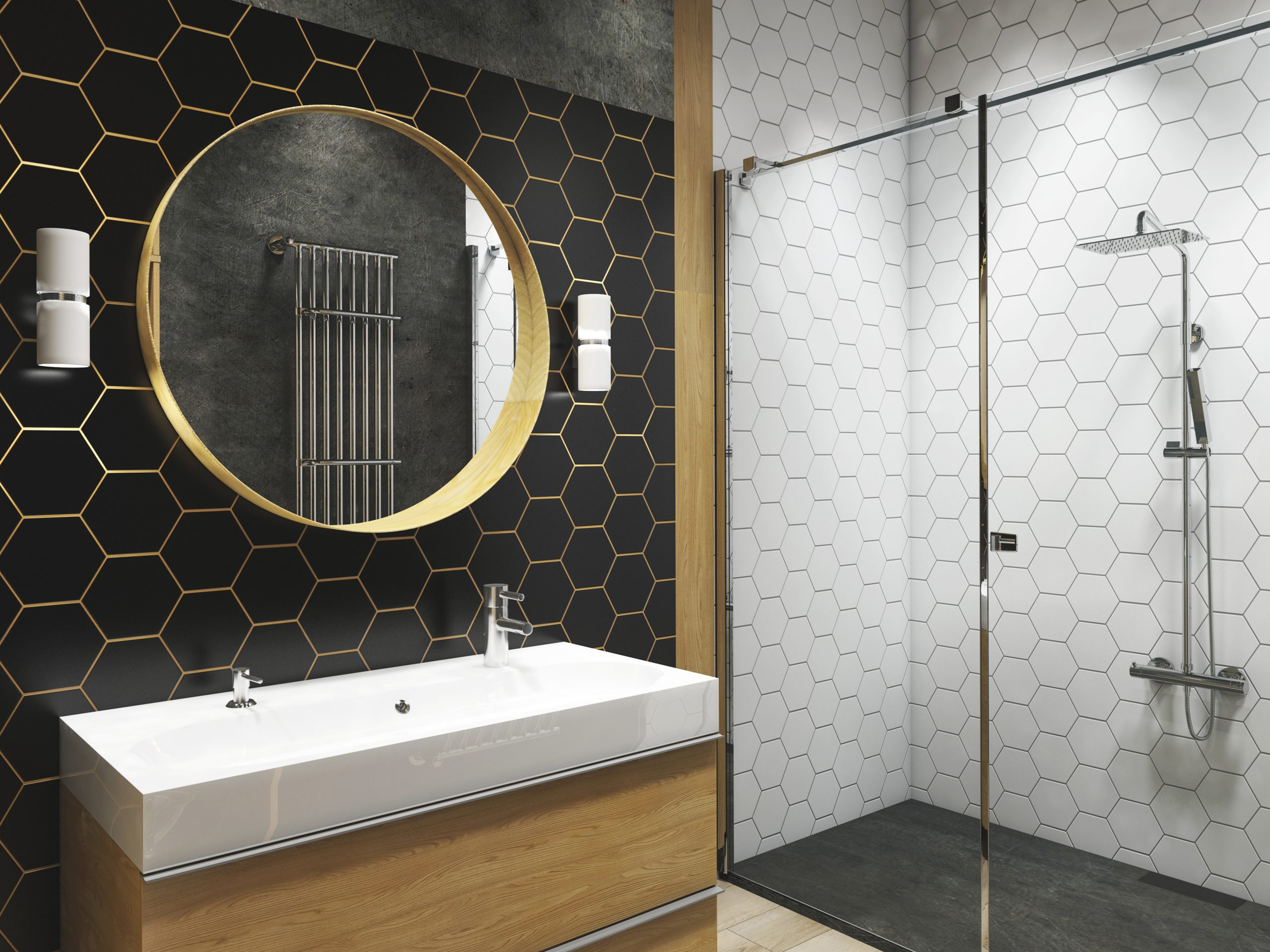 interesting bathroom ideas - Contrast white and black tile mosaic with golden accents, round mirror and H glass sliding shower doors and white m