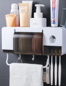 bathroom storage toothbrush and toothpaste