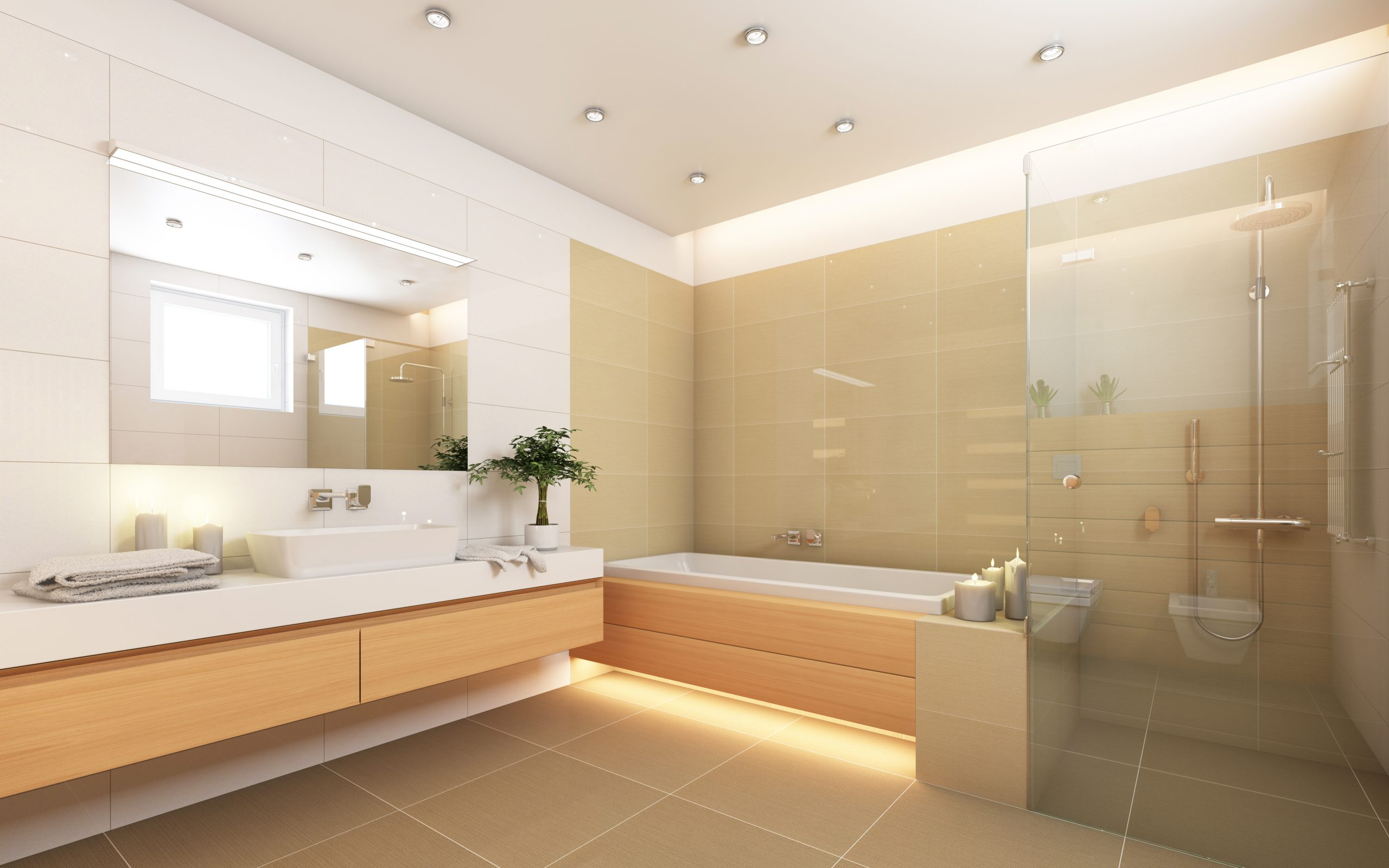 open layout bathroom hanging sink, frameless shower and bathtub and candles